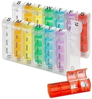 Pill Planners for Pills & Vitamins Each Day Week Four Times-a-Day Medication Reminder