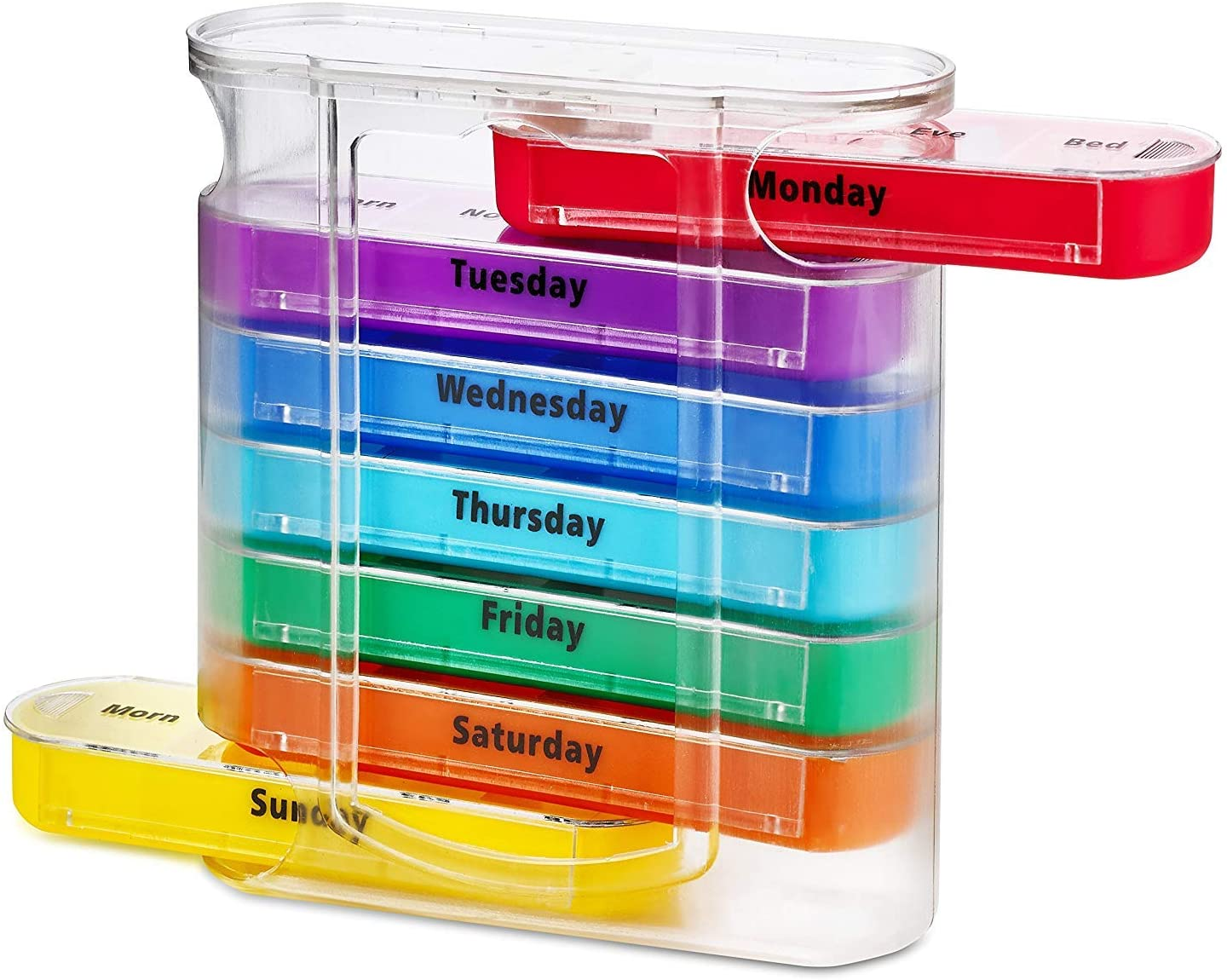 Weekly Pill Organizer Four Times-a-Day 1 Dispenser with Stackable AM/PM Compartments