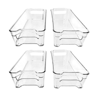 Plastic Fridge Organizer Bins with Handle Sets of 4