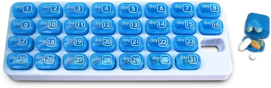 31 Day Monthly Pill Organizer Pods Great Pill Box for Travel BPA Free